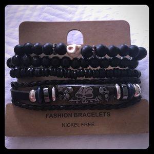 Black Leather & Beaded Skull Bracelet Set
